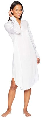 Hanro Cotton Deluxe Long Sleeve Gown (White) Women's Pajama
