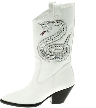 Giuseppe Zanotti White Snake Embellished Leather Guns 55 Cowboy Boots Size 37.5