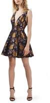 Topshop Women's Floral Jacquard Plunge Minidress