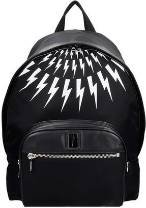Neil Barrett Thunderbolt Backpack In Black Nylon
