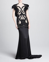 Marchesa Beaded Mesh & Satin Gown