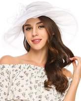 Zeagoo Women's Summer Organza Church Derby Fascinator Bridal Cap British Tea Party Wedding Sun Hats