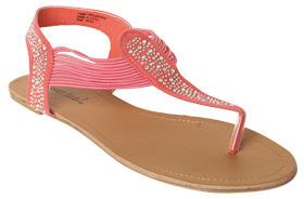 Wet Seal WetSeal Bling Elastic Strap Sandal Pink