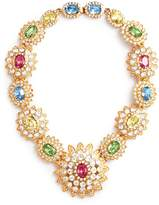 Kenneth Jay Lane Glass crystal floral station necklace