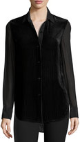 Rag & Bone Danni Long-Sleeve Velour Striped Blouse, Black