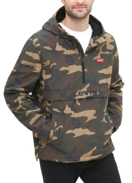 Levi's Men's Water-Resistant Camouflage Hooded Popover Jacket
