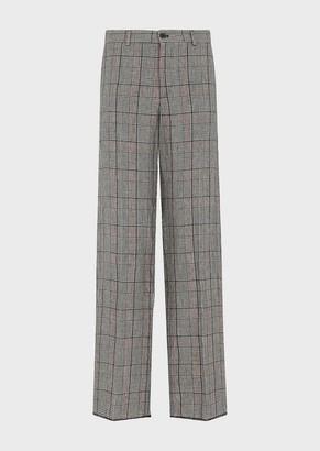 Emporio Armani Glen Plaid, Linen Palazzo Trousers