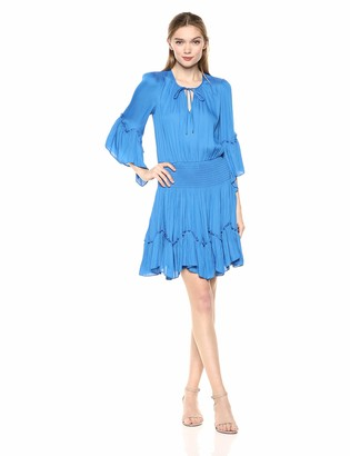 Halston Women's Long Sleeve Notch-Neck Dress with Smocked Waist