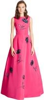 Oscar de la Renta Floral Sequin & Bead Embroidered Silk-Faille Gown