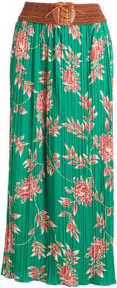 Morgan Anna Women's Casual Skirts Kelly - Kelly Green Floral Pleated Maxi Skirt - Women
