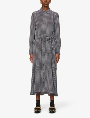Me And Em Geometric-print woven midi dress