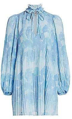 Ganni Women's Floral Pleated Shirtdress