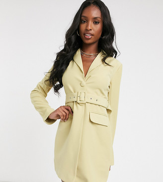 4th + Reckless Tall blazer dress with belt in pistachio