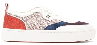 Christian Louboutin Happy Rui Glittered Leather Trainers - Mens - White Multi