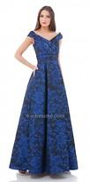 Carmen Marc Valvo Pleated V Neck Evening Dress