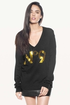 Wildfox Couture Sequin No. 9 V-Neck Sweater in Clean Black