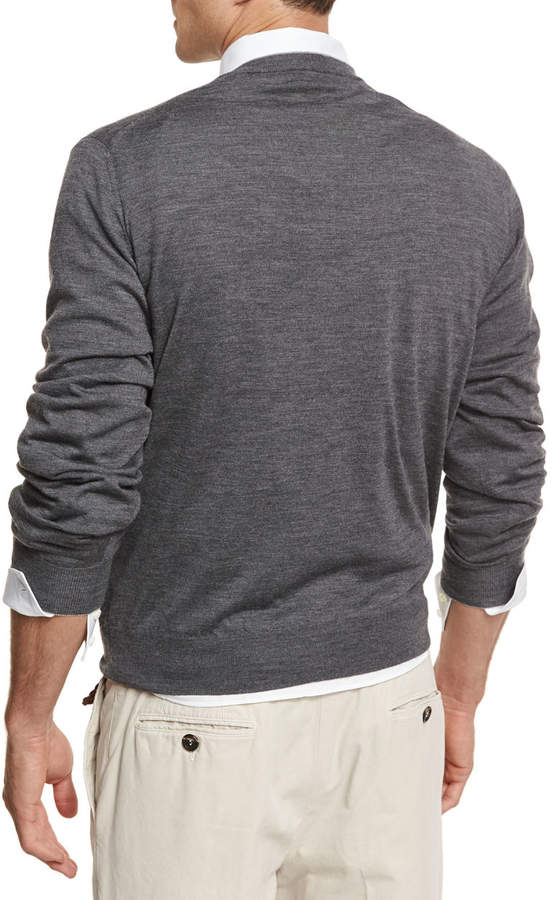 Fine-Gauge Tipped V-Neck Sweater