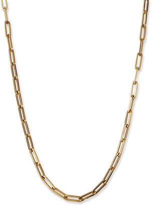 """Siena Jewelry 14k Yellow Gold Medium Paperclip Chain Necklace, 24""""L"""