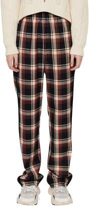 Maje Palo Plaid-Print High-Waist Pants