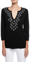 Michael Kors V-Neck Embellished Cashmere Tunic Top