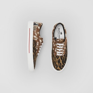 Burberry Animal Print Cotton Canvas Sneakers