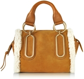 See by Chloe Paige Hazel Suede and Leather Satchel Bag w/Eco Shearling Detail