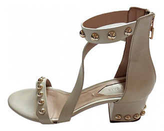 Elie Saab Ecru Leather Sandals