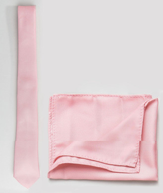 ASOS DESIGN tie and pocket square pack in pale pink