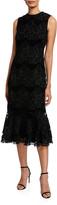 Shoshanna Bolton High-Neck Sleeveless Floral Lace Midi Dress