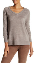 Sweet Romeo Exposed Seam V-Neck Pullover Sweater