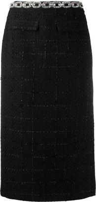 Blumarine Crystal-Belt Knit Skirt