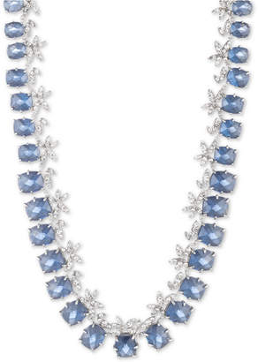 """Jenny Packham Silver-Tone Crystal Flower & Stone Collar Necklace, 16"""" + 3"""" extender"""