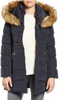 Laundry by Shelli Segal Women's Hooded Down & Feather Fill Coat With Detachable Faux Fur Trim