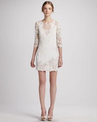 Yoana Baraschi Illusion-Neck Lace Tunic Dress