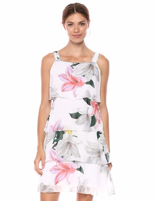 MSK Women's Print Tiered Dress