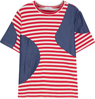 Clu Patchwork Tencel-chambray And Striped Cotton-jersey T-shirt
