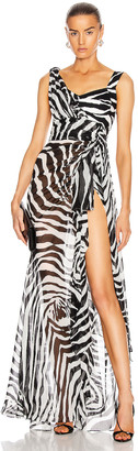 Dolce & Gabbana Sleeveless Print Dress in Zebra | FWRD
