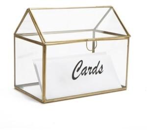 Mind Reader Glass Card Holder Box, Wedding Card Clear Box