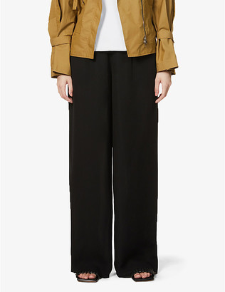 Theory Wide-leg high-rise silk trousers