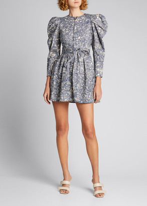 Ulla Johnson Domino Puff-Sleeve Zip-Front Mini Dress