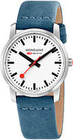 Mondaine Modaine Simply Elegant A400.30351.16SB Women's Leather Strap Watch, Blue/Silver