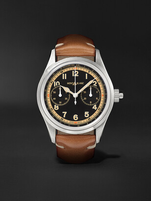 Montblanc 1858 Monopusher Automatic Chronograph 42mm Stainless Steel And Leather Watch, Ref. No. 125581