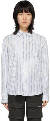 Stussy White Mens Jacquard Logo Stripe Shirt