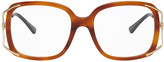 Gucci Tortoiseshell Square Split Metal Glasses