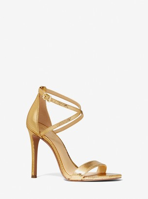 MICHAEL Michael Kors Antonia Metallic Python Embossed Leather Sandal