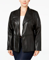 Alfani Plus Size Faux-Leather Open-Front Jacket, Only at Macy's