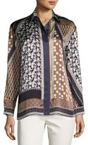Lafayette 148 New York Sabel Long-Sleeve Piazetta Patchwork Silk Blouse, Ink Multi