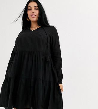 Junarose tiered smock dress-Black