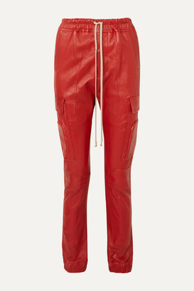 Rick Owens Leather Track Pants - Red