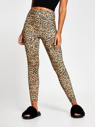 River Island Leopard Print Legging - Brown